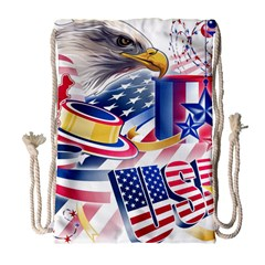 United States Of America Usa  Images Independence Day Drawstring Bag (large)