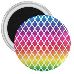 Colorful Rainbow Moroccan Pattern 3  Magnets