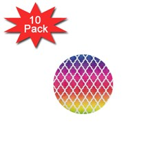 Colorful Rainbow Moroccan Pattern 1  Mini Buttons (10 Pack)