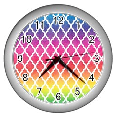 Colorful Rainbow Moroccan Pattern Wall Clocks (silver)