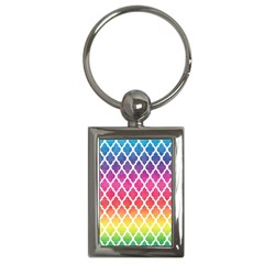 Colorful Rainbow Moroccan Pattern Key Chains (rectangle)