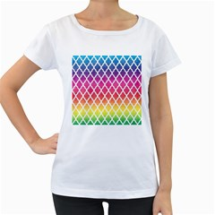 Colorful Rainbow Moroccan Pattern Women s Loose Fit T Shirt (white)