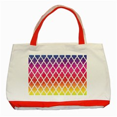 Colorful Rainbow Moroccan Pattern Classic Tote Bag (red)