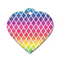 Colorful Rainbow Moroccan Pattern Dog Tag Heart (one Side)