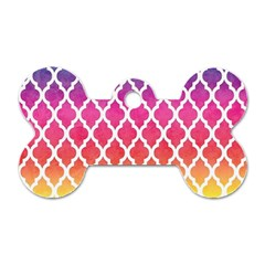 Colorful Rainbow Moroccan Pattern Dog Tag Bone (one Side)