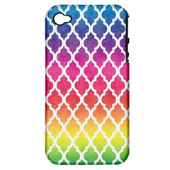 Colorful Rainbow Moroccan Pattern Apple Iphone 4/4s Hardshell Case (pc+silicone)