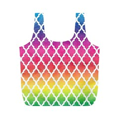 Colorful Rainbow Moroccan Pattern Full Print Recycle Bags (m)