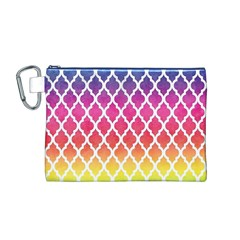 Colorful Rainbow Moroccan Pattern Canvas Cosmetic Bag (m)