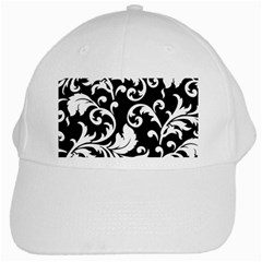 Vector Classicaltr Aditional Black And White Floral Patterns White Cap