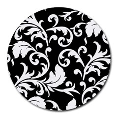 Vector Classicaltr Aditional Black And White Floral Patterns Round Mousepads