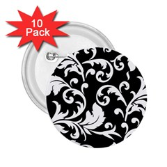 Vector Classicaltr Aditional Black And White Floral Patterns 2 25  Buttons (10 Pack)