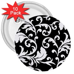 Vector Classicaltr Aditional Black And White Floral Patterns 3  Buttons (10 Pack)