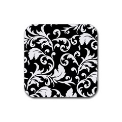 Vector Classicaltr Aditional Black And White Floral Patterns Rubber Square Coaster (4 Pack)