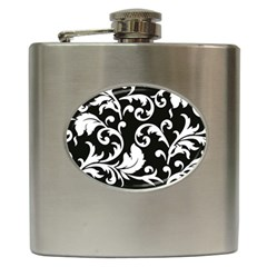 Vector Classicaltr Aditional Black And White Floral Patterns Hip Flask (6 Oz)