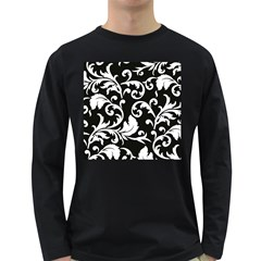 Vector Classicaltr Aditional Black And White Floral Patterns Long Sleeve Dark T Shirts