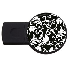 Vector Classicaltr Aditional Black And White Floral Patterns Usb Flash Drive Round (4 Gb)