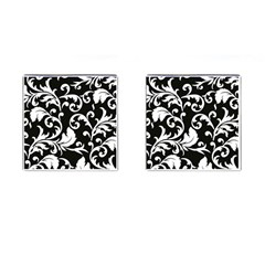Vector Classicaltr Aditional Black And White Floral Patterns Cufflinks (square)