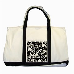 Vector Classicaltr Aditional Black And White Floral Patterns Two Tone Tote Bag