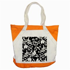 Vector Classicaltr Aditional Black And White Floral Patterns Accent Tote Bag