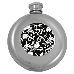 Vector Classicaltr Aditional Black And White Floral Patterns Round Hip Flask (5 Oz)