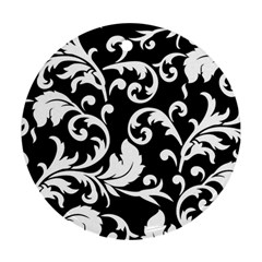 Vector Classicaltr Aditional Black And White Floral Patterns Round Ornament (two Sides)