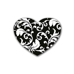 Vector Classicaltr Aditional Black And White Floral Patterns Rubber Coaster (heart)