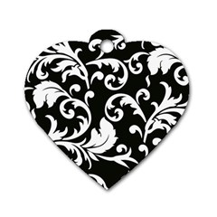 Vector Classicaltr Aditional Black And White Floral Patterns Dog Tag Heart (one Side)