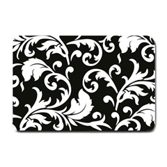 Vector Classicaltr Aditional Black And White Floral Patterns Small Doormat