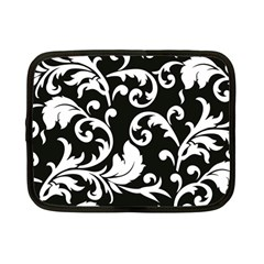 Vector Classicaltr Aditional Black And White Floral Patterns Netbook Case (small)