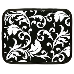 Vector Classicaltr Aditional Black And White Floral Patterns Netbook Case (xxl)