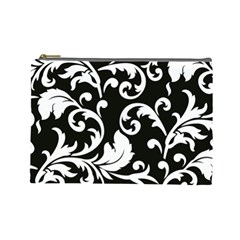 Vector Classicaltr Aditional Black And White Floral Patterns Cosmetic Bag (large)