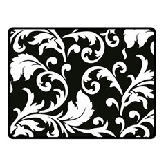Vector Classicaltr Aditional Black And White Floral Patterns Fleece Blanket (small)