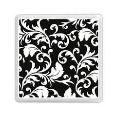 Vector Classicaltr Aditional Black And White Floral Patterns Memory Card Reader (square)
