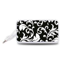 Vector Classicaltr Aditional Black And White Floral Patterns Portable Speaker (white)