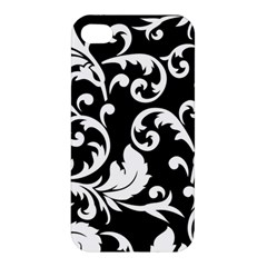 Vector Classicaltr Aditional Black And White Floral Patterns Apple Iphone 4/4s Premium Hardshell Case