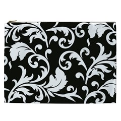 Vector Classicaltr Aditional Black And White Floral Patterns Cosmetic Bag (xxl)