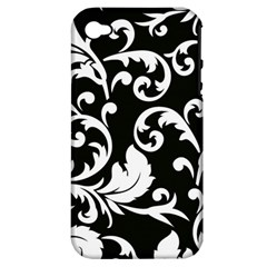 Vector Classicaltr Aditional Black And White Floral Patterns Apple Iphone 4/4s Hardshell Case (pc+silicone)