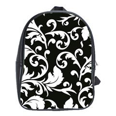 Vector Classicaltr Aditional Black And White Floral Patterns School Bags (xl)