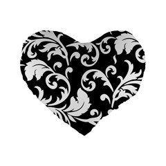 Vector Classicaltr Aditional Black And White Floral Patterns Standard 16  Premium Heart Shape Cushions