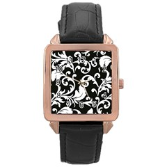 Vector Classicaltr Aditional Black And White Floral Patterns Rose Gold Leather Watch