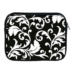 Vector Classicaltr Aditional Black And White Floral Patterns Apple Ipad 2/3/4 Zipper Cases
