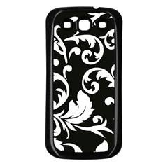 Vector Classicaltr Aditional Black And White Floral Patterns Samsung Galaxy S3 Back Case (black)