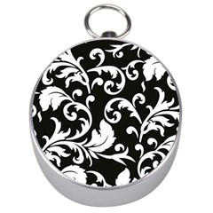 Vector Classicaltr Aditional Black And White Floral Patterns Silver Compasses