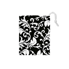 Vector Classicaltr Aditional Black And White Floral Patterns Drawstring Pouches (small)