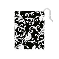 Vector Classicaltr Aditional Black And White Floral Patterns Drawstring Pouches (medium)