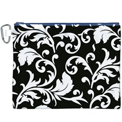 Vector Classicaltr Aditional Black And White Floral Patterns Canvas Cosmetic Bag (xxxl)