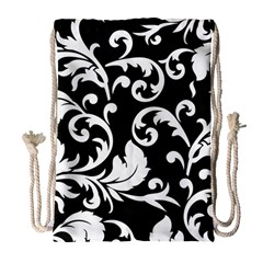 Vector Classicaltr Aditional Black And White Floral Patterns Drawstring Bag (large)