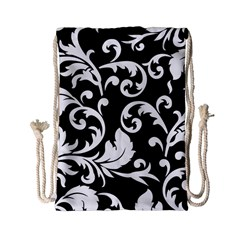 Vector Classicaltr Aditional Black And White Floral Patterns Drawstring Bag (small)