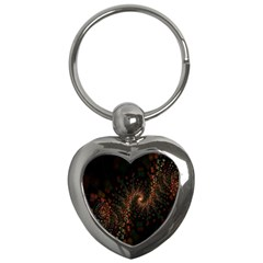 Multicolor Fractals Digital Art Design Key Chains (heart)