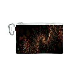 Multicolor Fractals Digital Art Design Canvas Cosmetic Bag (s)